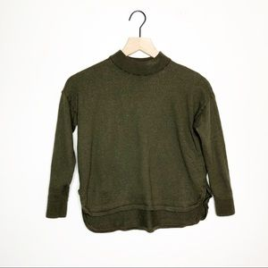 Madewell Olive Green Cropped Mock Neck Sweater